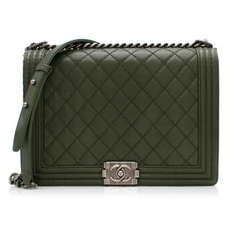 Chanel Khaki Calfskin Large Boy Bag