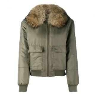 Army Yves Salomon Khaki fur lined bomber jacket