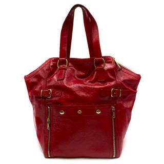 Yves Saint Laurent Red Downtown Tote Bag