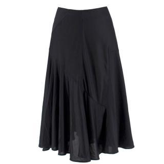 Balenciaga Black Silk Flared Circle Line Skirt