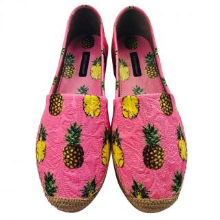 Dolce & Gabbana Pink Pineapple Print Espadrilles