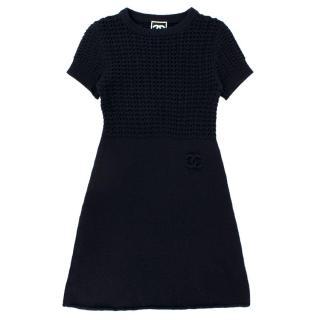 Chanel Wool & Cashmere Night Blue Knit Dress