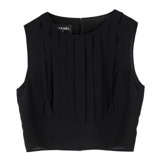 Chanel Cropped Black Pleated Silk Top