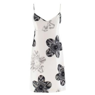 Chanel Cream Silk Floral Patterned Slip Dress