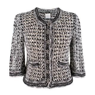 Chanel Black and White Open Knit Cardigan