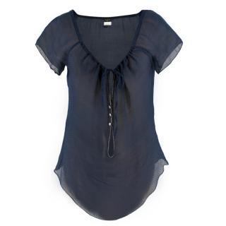 Chanel Navy Blue Silk Sheer Blouse
