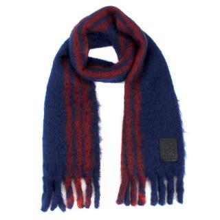 Loewe Mohair Wool Blend Striped Scarf