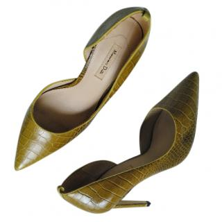 Massimo Dutti Croc Embossed D'orsay Pumps