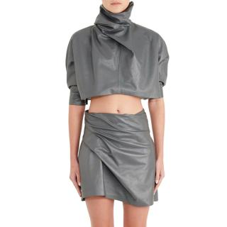 JW Anderson Grey Leather High Neck Crop Top & Draped Skirt Set