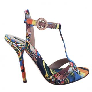 Dolce & Gabbana Multi-Coloured Printed T-Bar Sandals