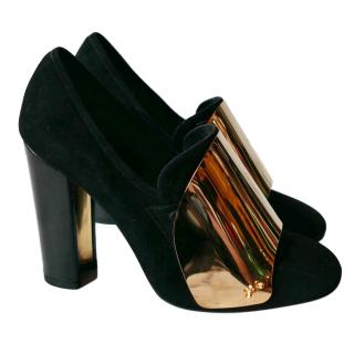 Yves Saint Laurent Black Suede Gold Plated Pumps