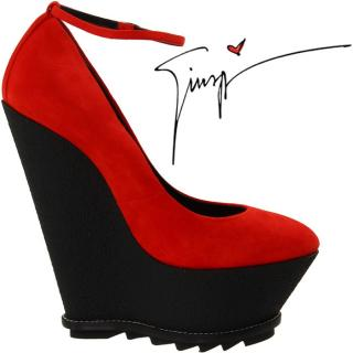 Giuseppe Zanotti Red Suede Platform Wedge Sandals