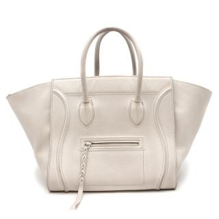 Celine White Phantom Calfskin Luggage Tote