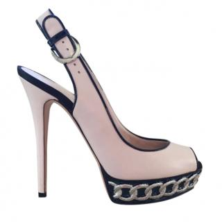 Casadei Chain Trim Slingback Sandals