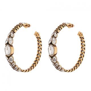 Dior Dio(r)evolution Gold Crystal Embellished Hoop Earrings