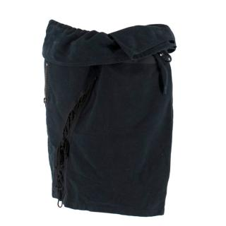 Balmain Navy Lace-Up Foldover Wrap Mini Skirt