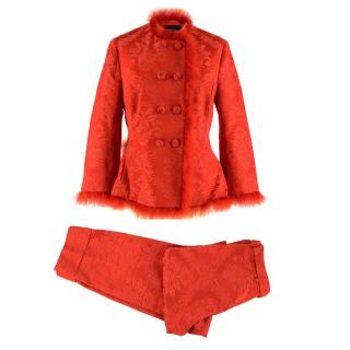 Simone Rocha Marabou-Trimmed Satin-Jacquard Jacket & Trousers