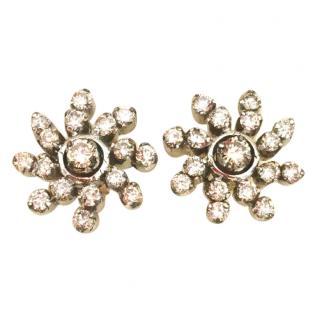 Bespoke 18ct White Gold Diamond Swirl Earrings