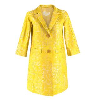 Etro Yellow Jacquard Linen & Silk Jacket