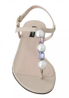 Dolce & Gabbana Nude Crystal Embellished Sandals