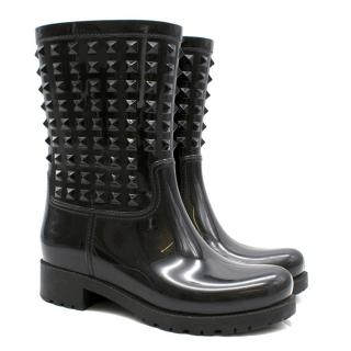 Valentino Black Studded Rubber Rain Ankle Boots
