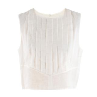 Chanel Cropped White Pleated Silk Top