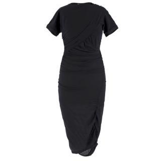Balenciaga Black Silk Draped Fitted Dress
