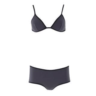 Laura Urbinati Grey Triangle Top and Boy-cut Bikini Set