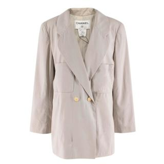 Chanel Beige Grey Lightweight Wool Blazer