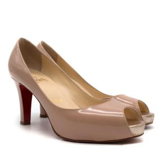 Christian Louboutin Nude Patent Leather Peep-toe Pumps