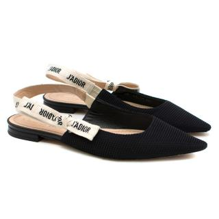 Dior Black Technical Canvas J'Adior Slingback Ballerina Flats