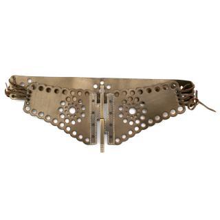 Valentino Leather Gold Lasercut Lace-Up Belt
