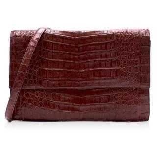 Nancy Gonzalez Burgundy Crocodile Leather Shoulder Bag