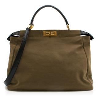 Fendi Khaki Canvas & Leather Peekaboo Bag