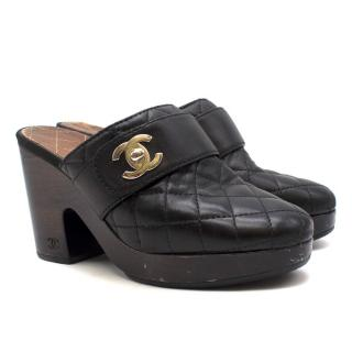 Chanel Black Quilted Leather Clogs