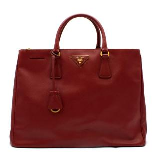 Prada Red Leather Galleria Saffiano Top-handle Bag