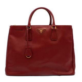Prada Red Leather Galleria Saffiano Top-handle Bag