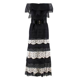 Valentino Silk Strapless Black Tiered Lace Ruffle Dress
