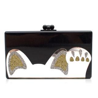 Edie Parker Black Jean Beckoning Cat Glitter Acrylic Clutch