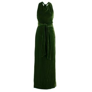Ralph Lauren Black Label Green Velvet Rope-Tie Gown