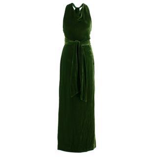 Ralph Lauren Black Label Green Velvet Rope-Tie Gown