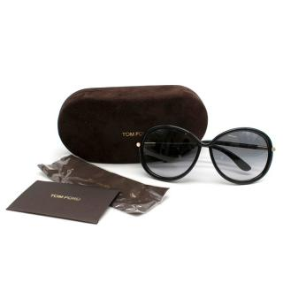 Tom Ford Oversize Round Black Sunglasses