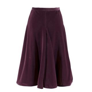 Valentino Purple Velvet A-Line Skirt