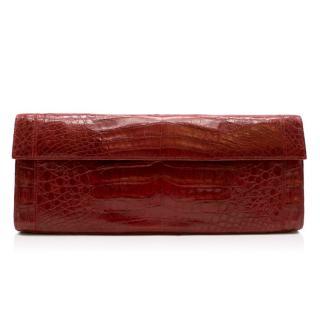 Nancy Gonzalez Red Crocodile Leather Clutch Bag