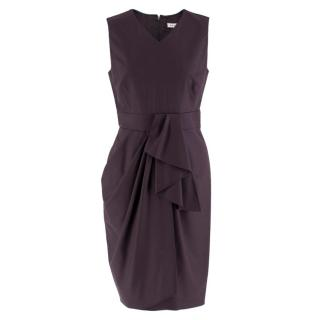Celine Plum Purple Wool Blend Draped Dress