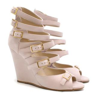 Chloe Pink Cyllia Suede Buckle-strapped Wedge Sandals