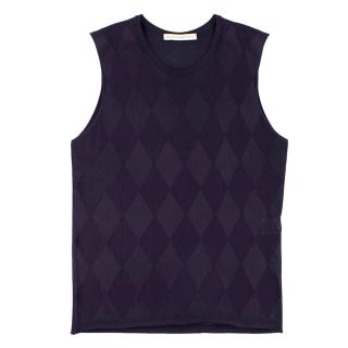 Balenciaga Navy Blue Diamond Embroidered Sleeveless Top
