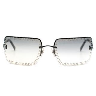 Chanel Rectangular Crystal Embellished Gradient Sunglasses