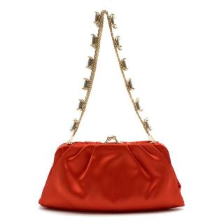 Valentino Red Satin Bag With Crystal Embellished Strap