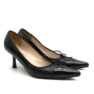 Chanel Black Leather Patent Toe Kitten Heel Pumps